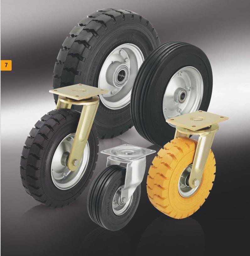 Большегрузные ролики и колеса с суперэластичной цельнолитой резиновой шиной