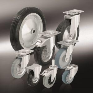 колеса с резиновой цельнолитой шиной