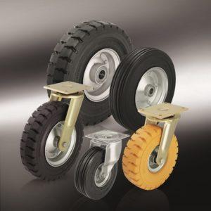 Большегрузные колеса и ролики с эластичной цельнолитой резиновой шиной (7)